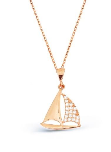 Argentum Concept Zirkon Taşlı Gümüş Yelkenli Kolye Renkli